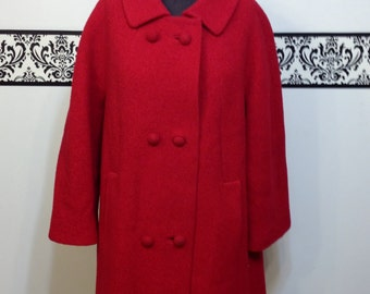 1960's Cherry Red Wool Pea Coat by Stylecraft New York, Vintage Rockabilly / Mod Double Breasted Pea Coat 50's 60's XL