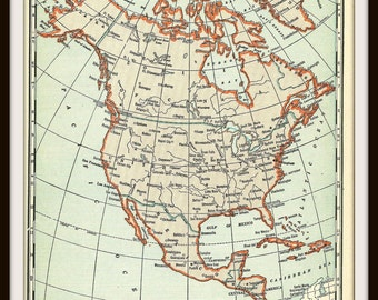 North America Collectible Map - 1940s WWII Era Map - From a 1941 Vintage World Atlas - Paper Ephemera - Ready to Frame