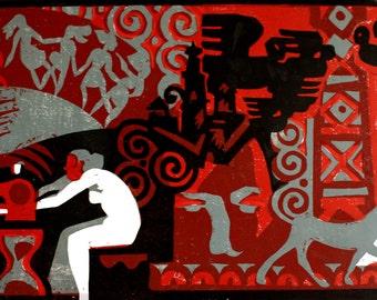 linocut Canvas size 36 x 59 cm