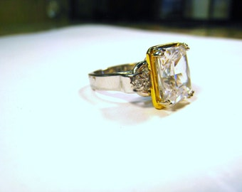 Two-Tone 925 Sterling Silver 5.50 CT Emerald Cut CZ Ring size 6.5