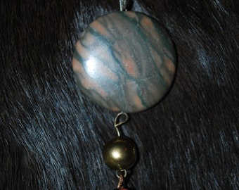 Black, Tan and Brown Chunky Jasper Pendant Necklace