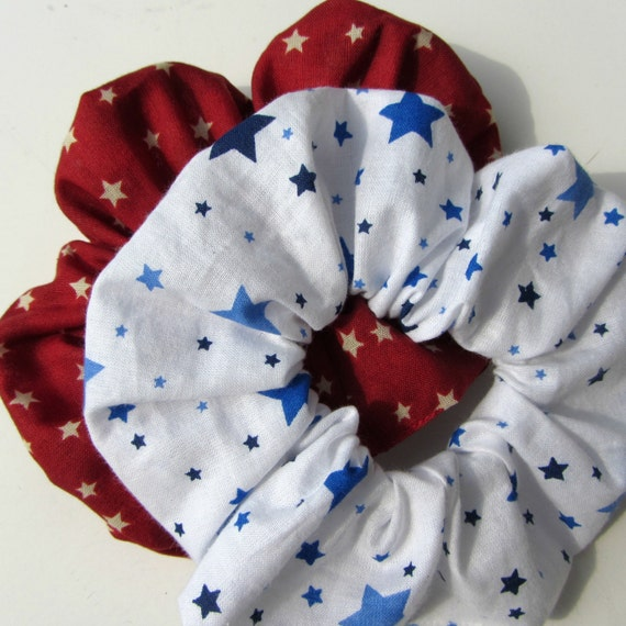Red White and Blue Stars Scrunchies 2 for 7.00 Handmade American Cotton Hair Accessory/ Star Scrunchy/ Patriotic Ponytail Holder