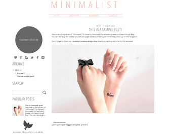 Minimalist - Premade Blogger Template Simple Instant Download