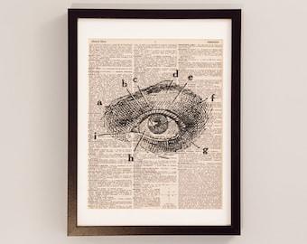 Vintage Eye Dictionary Print - Anatomy Art - Print on Vintage Dictionary Paper - Doctor Gift - Medical School - Human Eye Print
