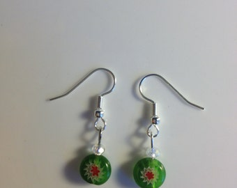 Green & red glass drop earrings