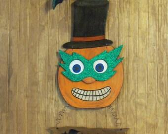 Handmade Halloween Pumpkin Sign, Wooden Halloween Sign, Happy Halloween Sign, Jack o Lantern Sign, Halloween Decoration, Jack o Lantern