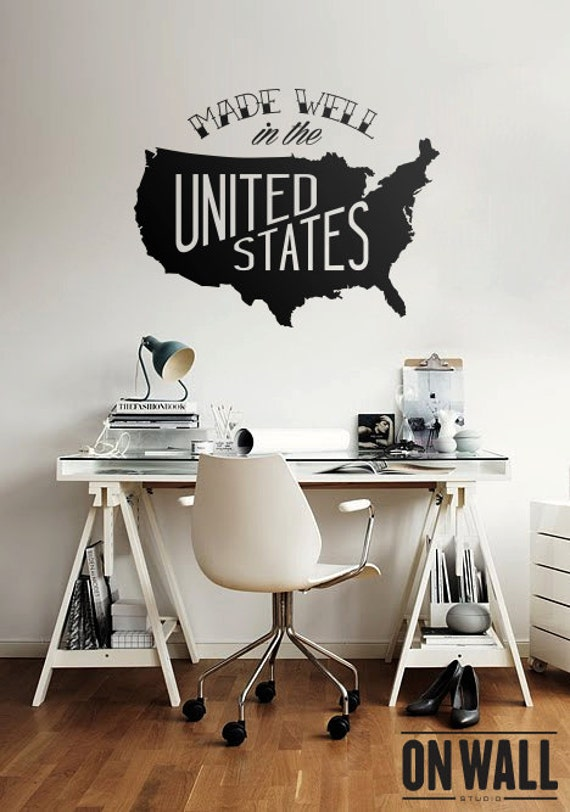 Large USA Map Vinyl Wall Decal United States Wall Sticker - Us map wall decal