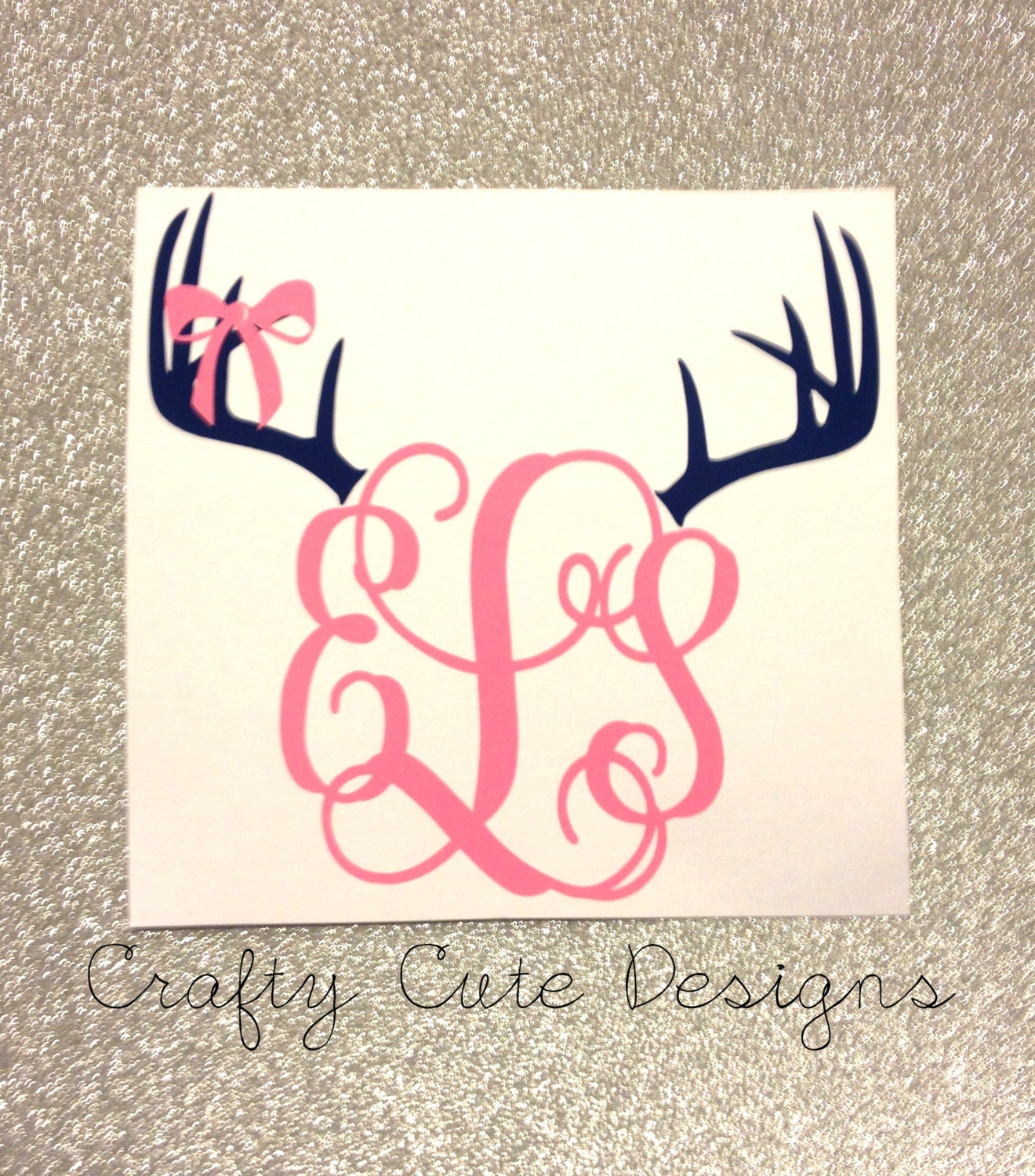 Monogrammed Antlers W/ Bow Decal By CraftyCuteDesignsNC On