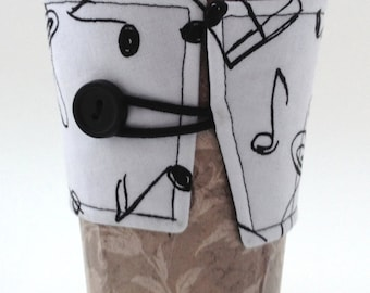 Handmade Reusable Music Notes Coffee Cozy