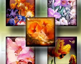 """Printable Digital Downloads - Flower Painting - 1.5""""x1.5"""" square tiles - Digital Collage Sheet CG-656S for Jewelry, Crafts"""