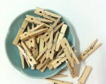 Wooden Clothes Pins - Small -30 pcs - Natural Clothes pins - Unfinished Wooden Clothes pins - Crafting/packaging