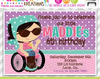 586: DIY - Sweet Girly Girl 3 Party Invitation Or Thank You Card