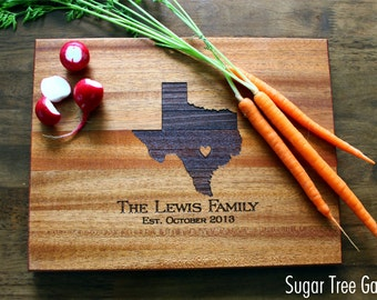 Personalized Cutting Board, Texas (OR ANY STATE) Custom Engraved State Love with Heart Over City, Gift For Her, Gift For Him, Christmas Gift