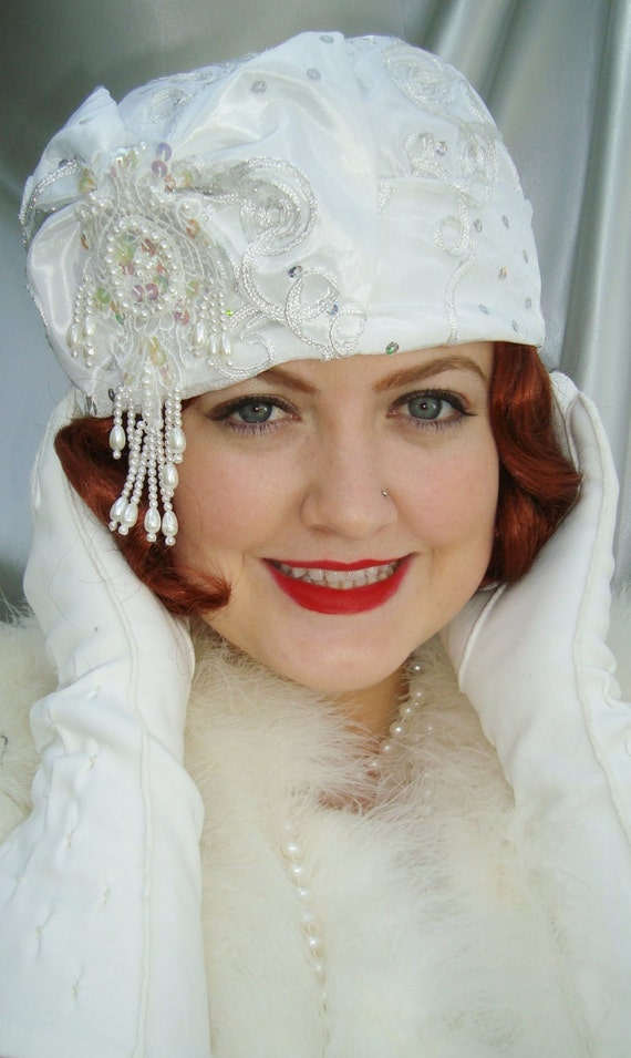 White Taffeta 1920s Cloche Hat, Great Gatsby and Downton Abbey Inspired