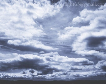Blue Sky Photo, Sky Clouds Art, Cloud Photo, Black white Sky Clouds Photo, Bird's Eye View art Nature Photo, Serene Blue Sky, California Art
