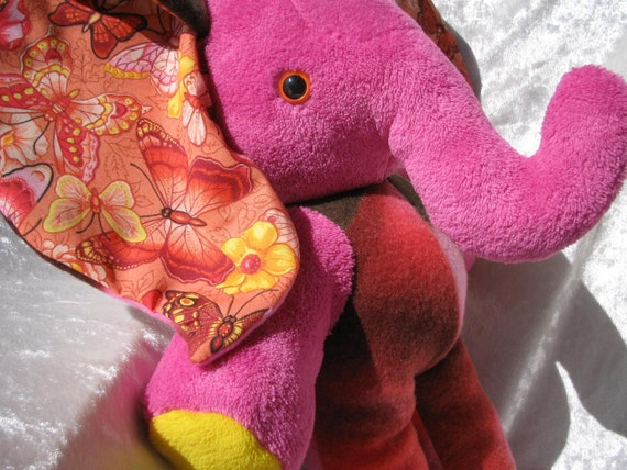 Home Decor Elephant Butterflies Pink Red Wild De Luxe Luxury