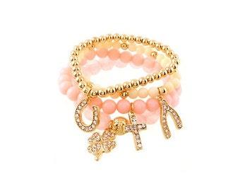 Blush Pink Bracelet - Charm Bracelet - Pastel Pink Bracelet -  Light Pink Bracelet - Lucky Charm Bracelet - Beaded Bracelet