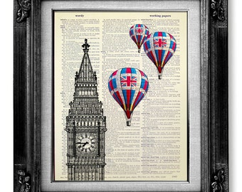 British Decor, London Print, London Decor, HOT AIR BALLOON Print on Dictionary Paper, London Wall Art Wall Decor, Big Ben Clock Art Poster