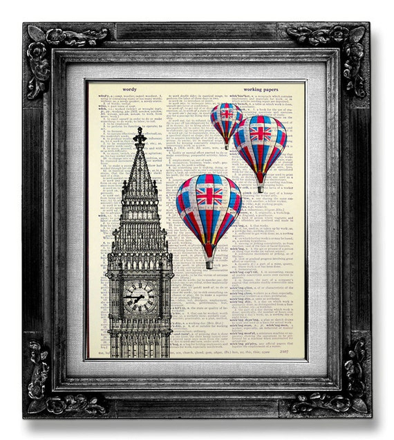 Home office decor london art print big ben print hot air for Home accessories london