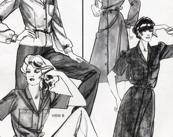 Stretch & Sew Sewing Pattern 1576 Lapel Collar Dress and Blouse  Sizes 28-44  Uncut