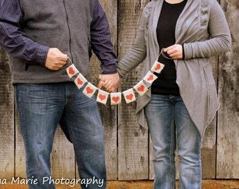 Customizable Burlap Wedding Banner with Mini Hearts, Burlap Heart Banner, Wedding Banner, Heart Photoprop, Valentine's Day Banner