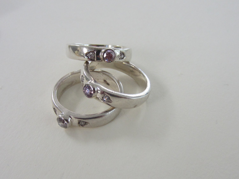 vintage gemstones sterling silver stacking promise rings