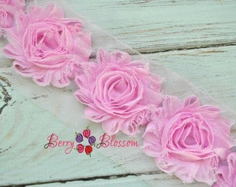 "2.5"" Baby Pink shabby flower trim - frayed chiffon - rose flowers by the yard - CF baby pink"