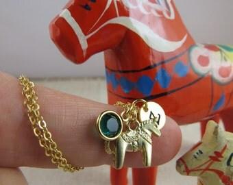 Dala horse charm, Dala horse necklace, horse necklace, bridesmaid gift, Swedish Dala horse, birthstone necklace, initial necklace