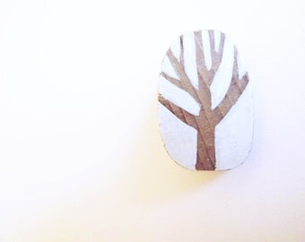 Wooden  Brooch - Tree wood and white background