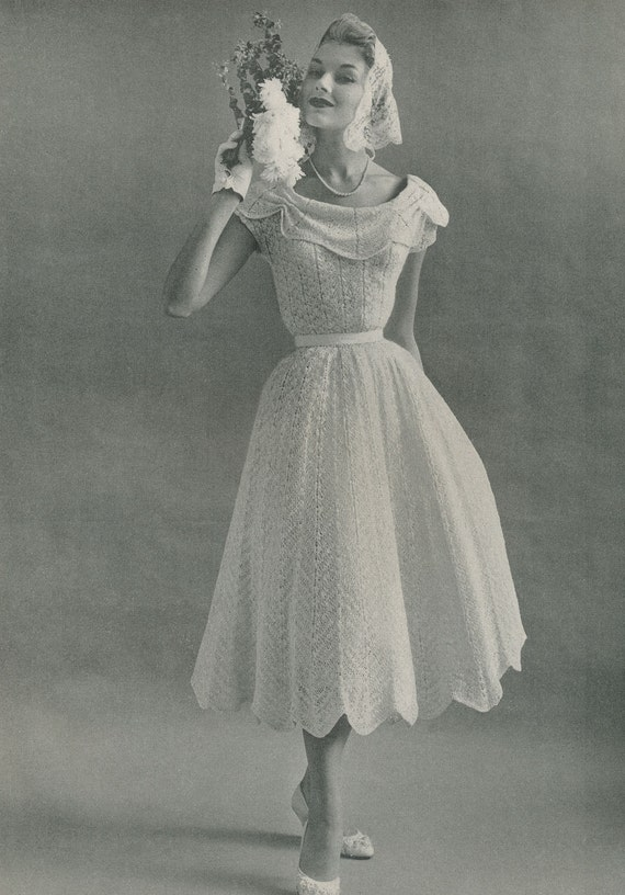 Knitting Pattern Dressing Gown : KNITTING PATTERN Vintage 1950s Nomotta Informal Wedding Dress