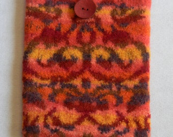 Felted wool iPad knit cover thick protection coconut shell button tapestry-like rust coral yellow purple 17th cent. design Wood Intarsia