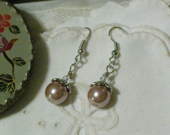 Pretty in Pink Pearl and Crystal Earrings - Antique Silver French Hooks MADE TO ORDER