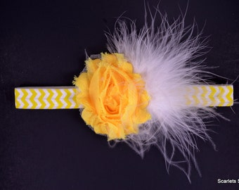 Yellow Headband  - Yellow Chevron - Feather Headband - Baby Headbands - Toddler Headband - Adult Headband - Yellow Baby Bow