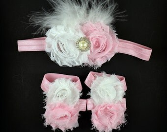 Light Pink White Pearl Headband and Barefoot Sandal Set - Baby Headband - Barefoot Baby Sandals