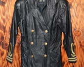 Vintage Black Leather Military Style Jacket 80s Leather Jacket Size Medium