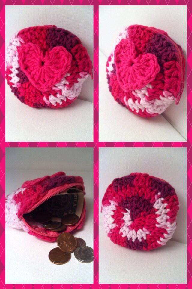 Crochet Round Purse : Round heart crochet change purse zippered by RainbowLuvCreations