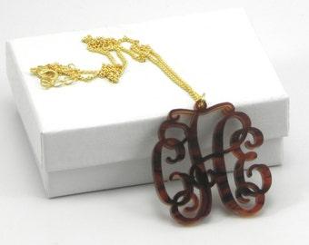 Acrylic Monogram Necklace - Tortoise shell initial monogram necklace bridesmaid gift.