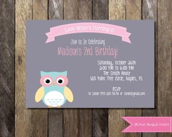 PRINTABLE Birthday Invitation - 2nd Birthday Invitation - Owl Girls Birthday Party 4x6 or 5x7