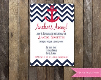 PRINTABLE Nautical Birthday Invitation Anchor Sailboat Ahoy - 1st Birthday Invitation - Boys Girls Birthday Party 4x6 or 5x7