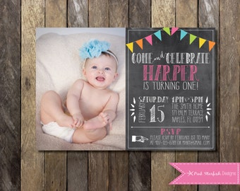 Chalkboard First Birthday Invitation, First Birthday Invitation, Chalkboard Invitation, Printable Invitation, Rainbow Invitation, Rainbow