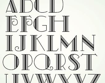 Art Deco Vector Alphabet retro letters clipart design elements
