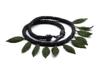 Organic jewelry Green leaf necklace OOAK necklace Indian jewelry Leaf jewelry Nature inspired jewelry Beaded necklace Organic necklace