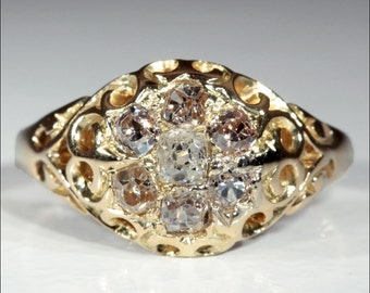 Antique Victorian Cushion Cut Diamond Cluster Ring in 18k Gold