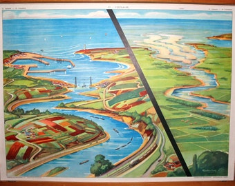 Vintage French school poster ROSSIGNOL. Double sided .1950's. Original. Estuary - The Flood