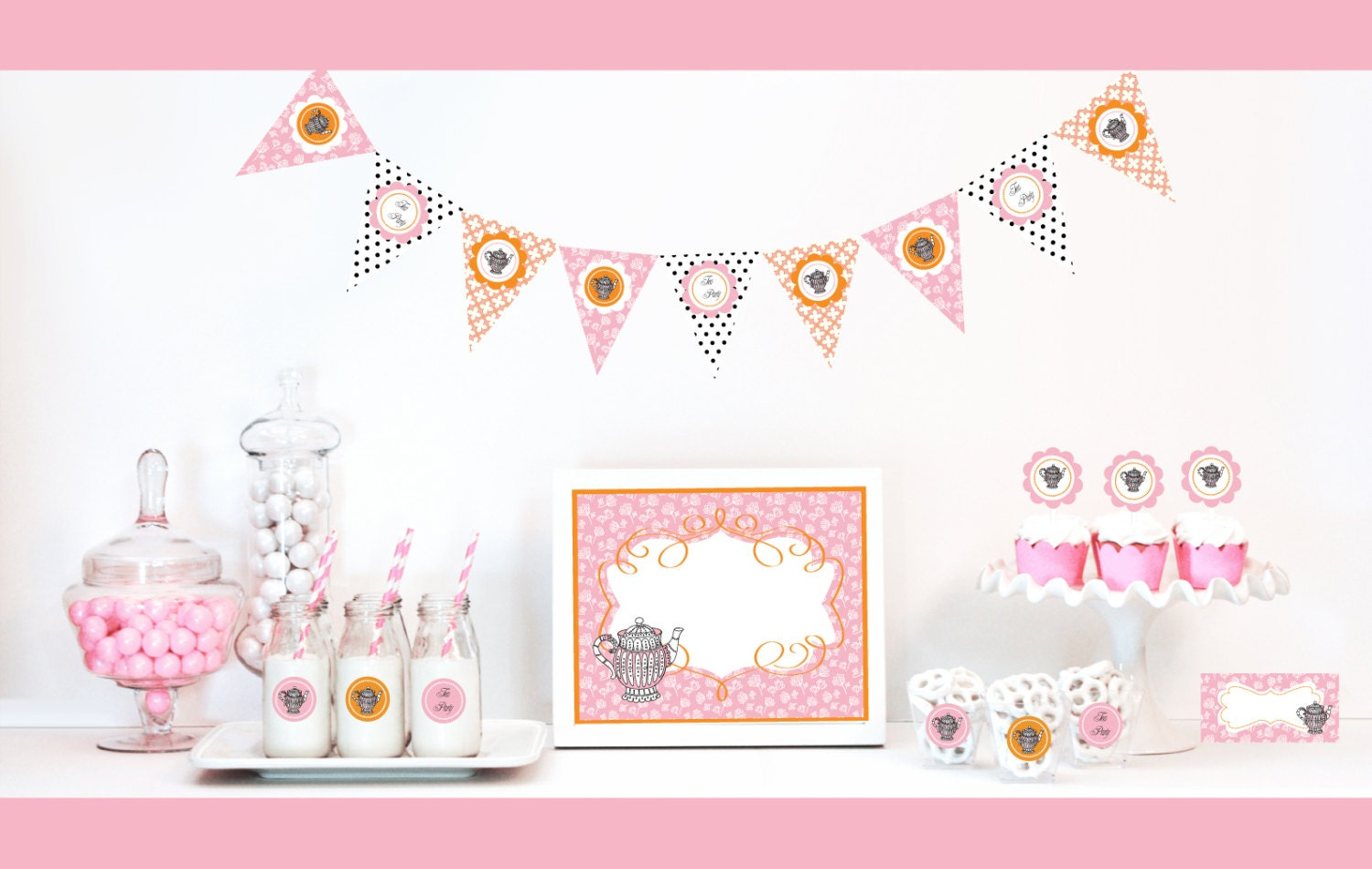 Tea party ideas tea party baby shower decorations kit by for Baby shower decoration kit