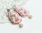 Bead embroidery - Earrings Beadwork - beadwork jewelry- Embroidered earrings- shebby chic earrings - LenaSinelnikArt