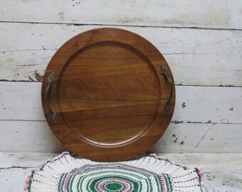 Walnut Tray by Ozark with Antique Brass Handles