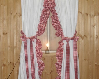 """White Ruffled Curtains With Red Gingham Ruffles 84"""" Wide"""