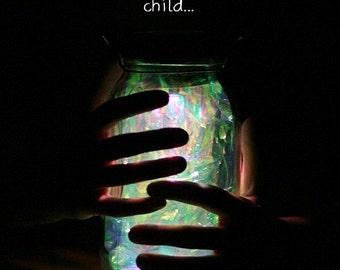 Mason Jar Solar Light/Fairy Lantern, fully assembled with a fitted handle to hang it from.