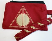 Handprinted Fabric with Garnet and Gold Always Triangle Circle Line Zipper Clutch Wristlet Bag